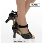 Female Open Heeled Shoes (Black)