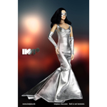 Female Evening Gown Dress Set (Silver)