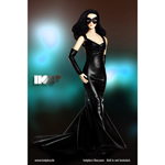 Female Evening Gown Dress Set (Black)