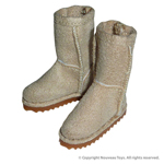 Shoes Series - Beige Color Leather Skin Boots