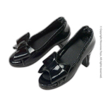 Shoes Series - Black Bow Open-Toe Heel Shoes