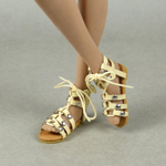 Female Gladiator Leather Strap Sandal Shoes (Beige)