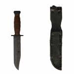 Ka-Bar Combat Knife with Worn Leather Sheath (Black)