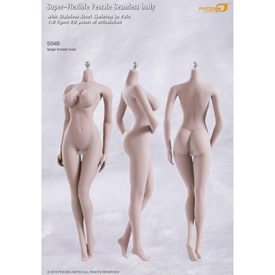 Super Flexible Female Seamless Body with Stainless Steel Skeleton in Pale (Large Breast Size)