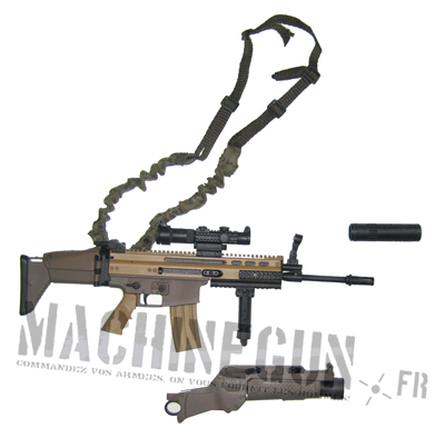 SCAR Mk16 w/ bunch sling w/ grenade launcher and silencer
