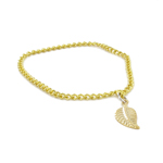 Die Cast Neck Chain with Leaf Pendant (Gold)