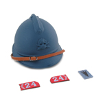 French Adrian Helmet with 24 eme RA Collars Tab (Blue)