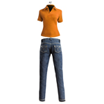 Orange Polo shirt and Blue Slim Cut Jeans