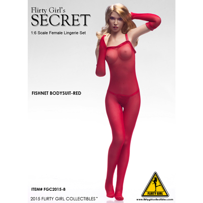 Female Secret Fishnet Bodysuit Set (Red)