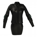 Female Leather Biker Jacket (Black)