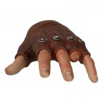 Gloved Mitten Left Hand with Cut Finger (Brown)