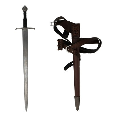 Diecast Knight Sword with Scabbard and Double Belt (Grey)