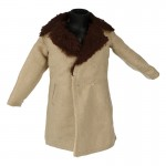 Velvet and Fur Coat (Beige)