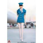 Female Sexy Flight Attendant Suit Set (Blue)