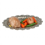 Roasted Chicken and Vegetables with Diecast Plate (Beige)
