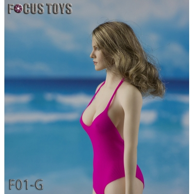 Female Swimming Suit with Beach Hat (Pink)