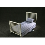 Diecast Single Bed with Mattress (White)
