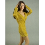 Female Glitter Mini Party Dress (Yellow)