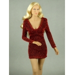 Female Glitter Mini Party Dress (Red)