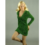 Female Glitter Mini Party Dress (Green)