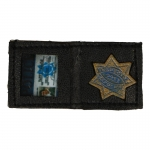 Leather Wallet with Police Card and Badge (Black)