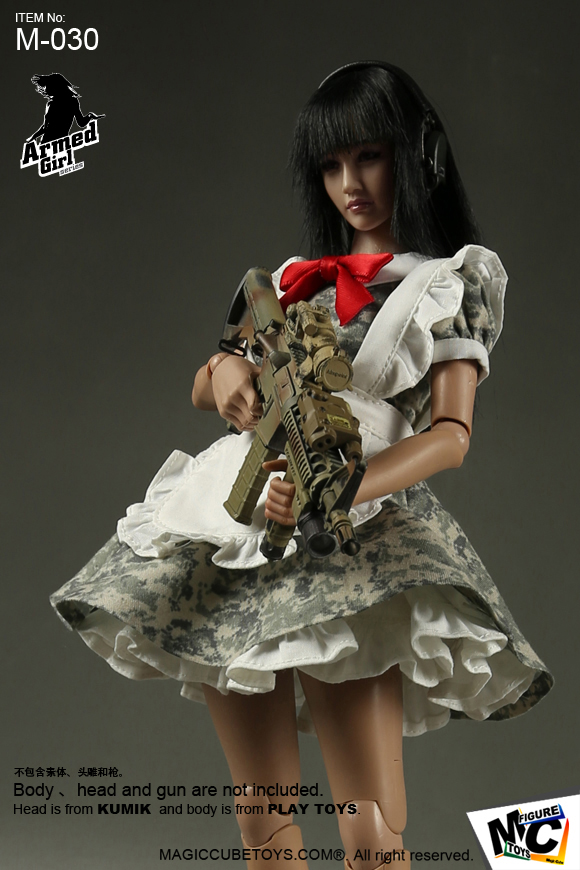 1//6 Scale Armed Maid Accessory In ACU Camo Female White Apron