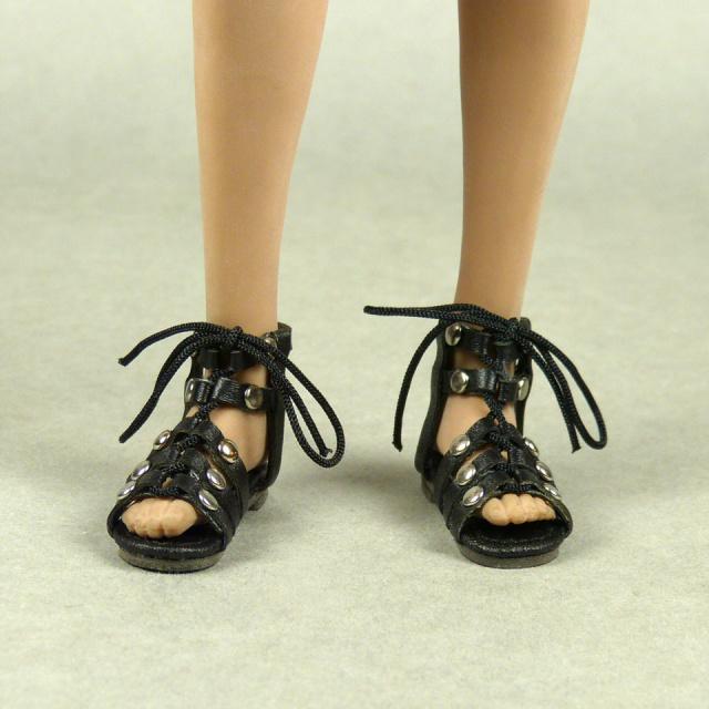 04ae36ce5a8 Female Gladiator Leather Strap Sandal Shoes (Black) NOUVEAU TOYS -  Machinegun