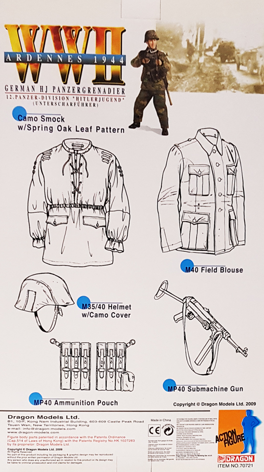 Dragon German M40 private Jacket and trousers 1//6th scale accs