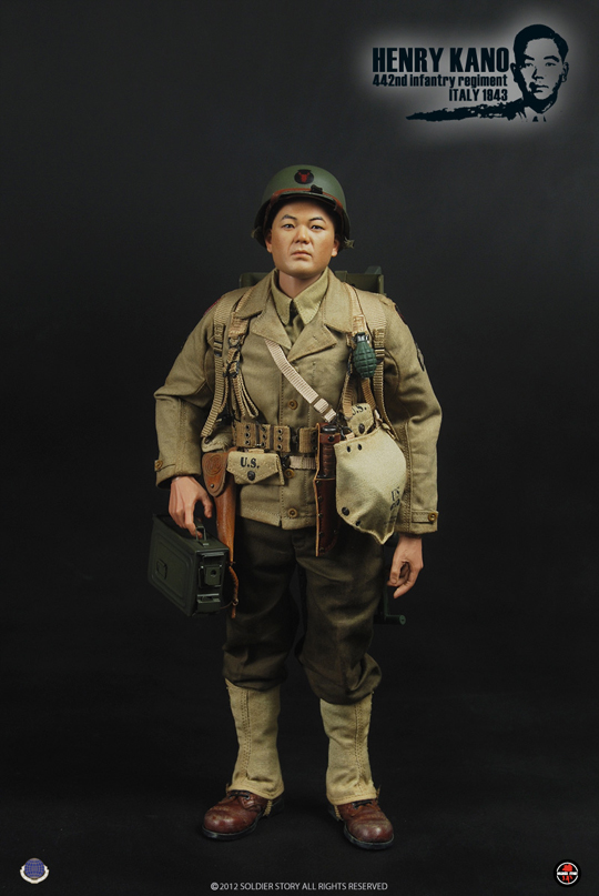1//6 Scale Toy World War Two-INFANTERIE-Henry Kano-OD Vert Casque